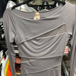 Bailey 44 gray sheer knit and cotton top